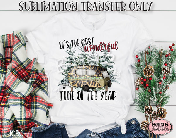 Christmas Camper Sublimation Transfer, Ready To Press