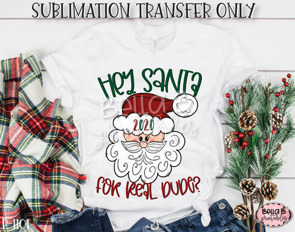 Hey Santa 2020 For Real Dude Sublimation Transfer, Ready To Press