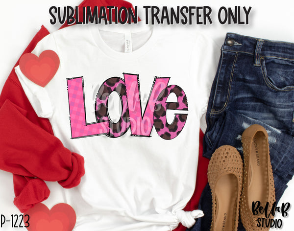 Pink Leopard LOVE Sublimation Transfer, Ready To Press
