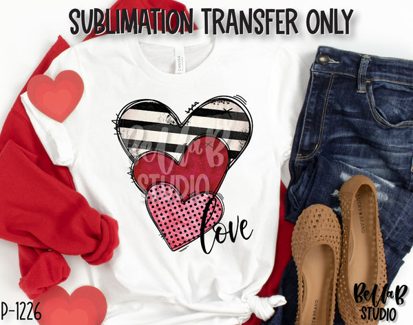 Valentine Hearts - Love Sublimation Transfer, Ready To Press