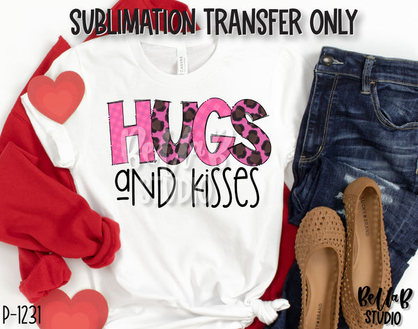 Pink Leopard Hugs and Kisses Sublimation Transfer, Ready To Press
