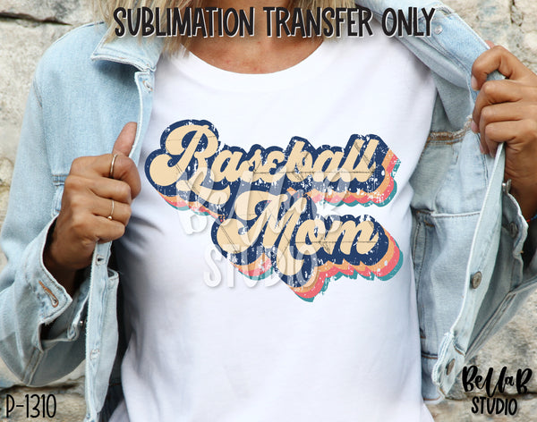 Retro Baseball Mom Sublimation Transfer - Ready To Press