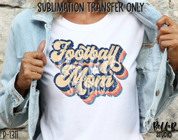 Retro Football Mom Sublimation Transfer - Ready To Press
