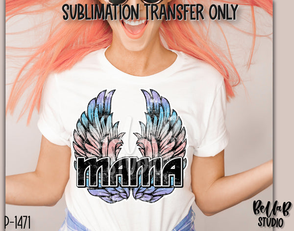Rock N Roll Mama With Wings Sublimation Transfer - Ready To Press - P1471