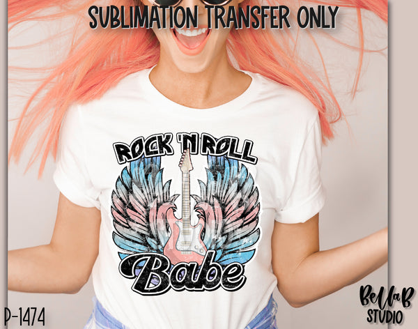 Rock N Roll Babe With Guitar & Wings Sublimation Transfer - Ready To Press - P1474