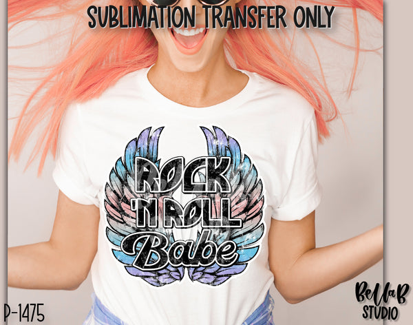 Rock N Roll Babe With Wings Sublimation Transfer - Ready To Press - P1475