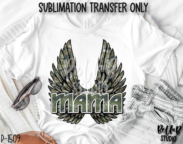 Camo Rock N Roll Mama With Wings Sublimation Transfer - Ready To Press - P1509