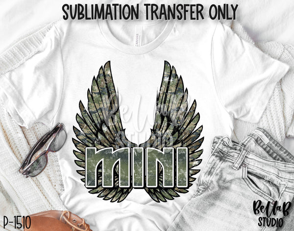 Camo Rock N Roll Mini With Wings Sublimation Transfer - Ready To Press - P1510