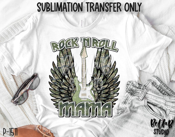 Camo Rock N Roll Mama With Wings Sublimation Transfer - Ready To Press - P1511