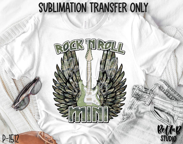 Camo Rock N Roll Mini With Wings Sublimation Transfer - Ready To Press - P1512