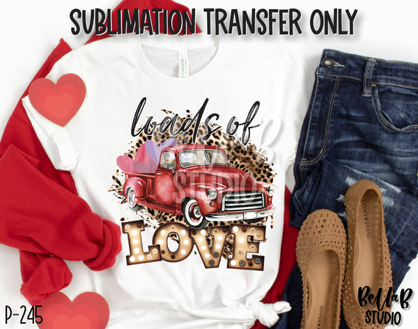 Loads Of Love Leopard Red Truck Sublimation Transfer, Ready To Press