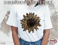 Leopard Print Sunflower Sublimation Transfer, Ready To Press, Heat Press Transfer, Sublimation Print