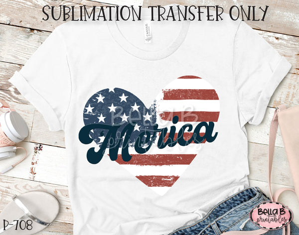 'Merica Distressed Heart Sublimation Transfer, Ready To Press, Heat Press Transfer, Sublimation Print