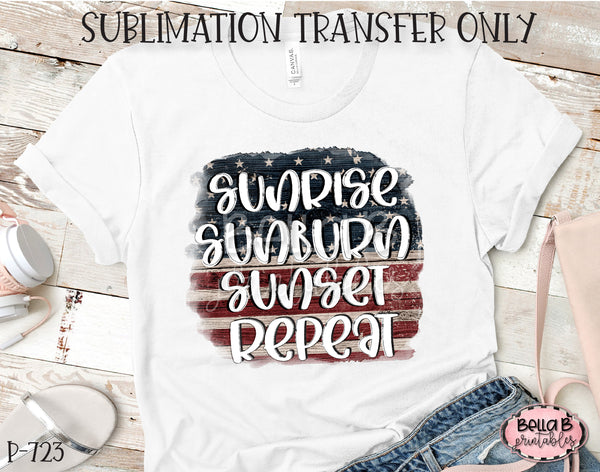 Sunrise Sunburn Sunset Repeat Sublimation Transfer - Ready To Press