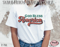 Retro America - God Bless America Sublimation Transfer - Ready To Press
