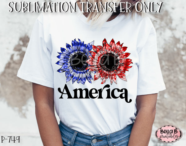Tie Dye Sunflower America Sublimation Transfer - Ready To Press