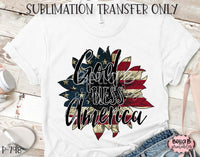 God Bless America Sunflower Sublimation Transfer, Ready To Press