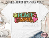 Peace And Love Sublimation Transfer - Ready To Press