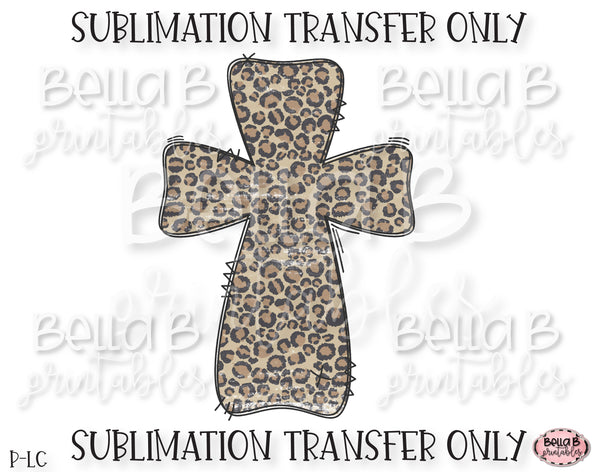 Leopard Print Easter Cross Sublimation Transfer, Ready To Press, Heat Press Transfer, Sublimation Print