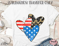 America Hearts Sublimation Transfer, Ready To Press