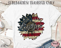 America Sunflower Sublimation Transfer, Ready To Press