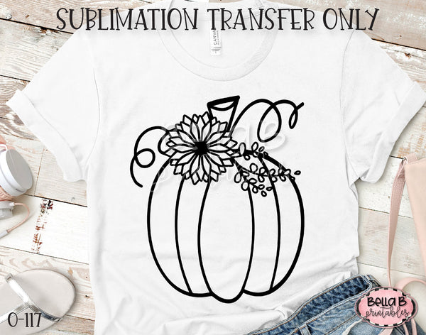 Sunflower Pumpkin Sublimation Transfer, Ready To Press