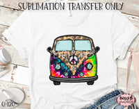 Leopard Tie dye Hippie Bus Sublimation Transfer, Ready To Press