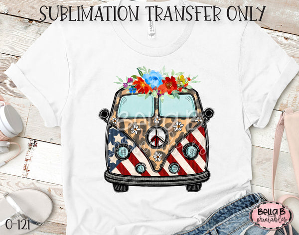 Tie dye Hippie Bus Sublimation Transfer, Ready To Press