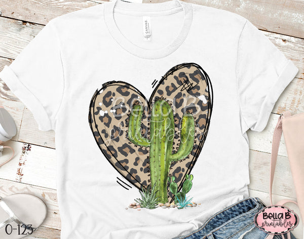 Leopard Heart Cactus Sublimation Transfer - Ready To Press
