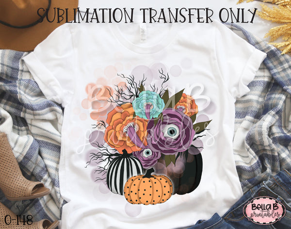 Halloween Pumpkins Floral Sublimation Transfer - Ready To Press