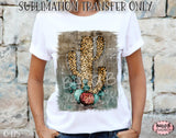 Distressed Leopard Cactus Sublimation Transfer, Ready To Press