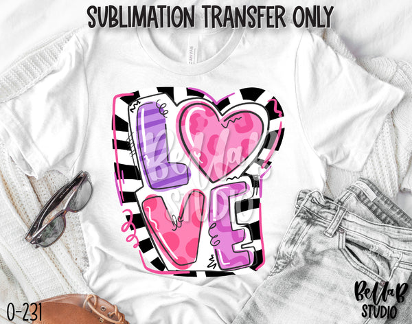 Doodle Love Sublimation Transfer, Ready To Press