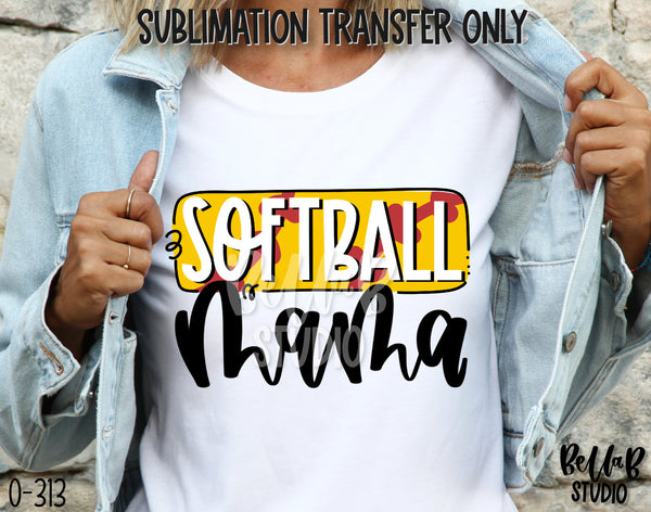 Softball Mama Sublimation Transfer - Ready To Press - O313