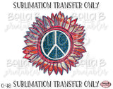 Peace America Sunflower Sublimation Transfer, Ready To Press, Heat Press Transfer, Sublimation Print