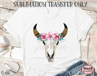 Floral Longhorn Skull Sublimation Transfer, Ready To Press, Heat Press Transfer, Sublimation Print