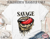 Savage Gold Leopard Dripping Lips Sublimation Transfer - Ready To Press