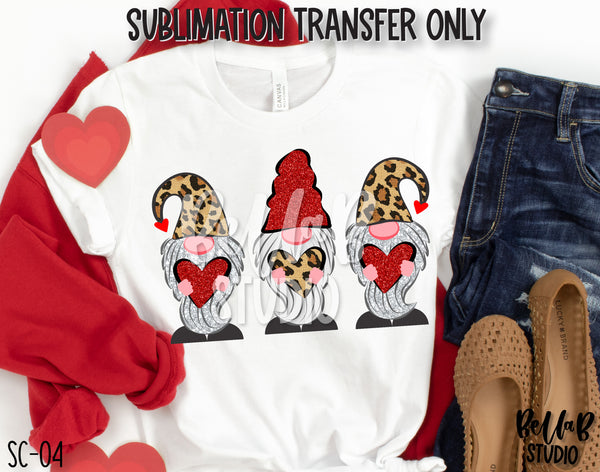Valentine Gnomes Sublimation Transfer, Ready To Press