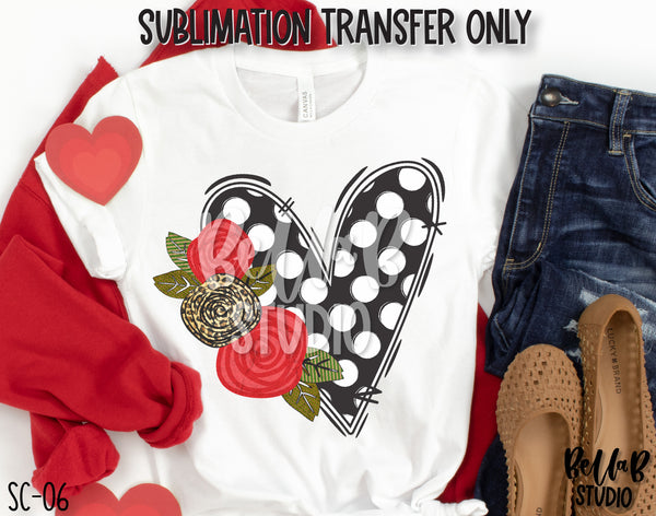 Floral Polka Heart Sublimation Transfer, Ready To Press