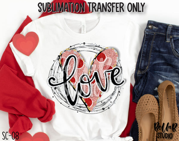 Love Scribble Heart Sublimation Transfer, Ready To Press