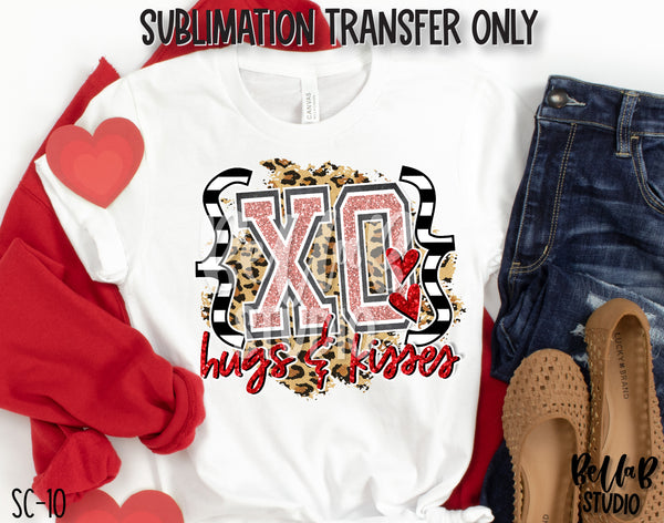 XO Hugs and Kisses Sublimation Transfer, Ready To Press