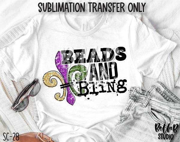 Beads and Bling Sublimation Transfer - Ready To Press