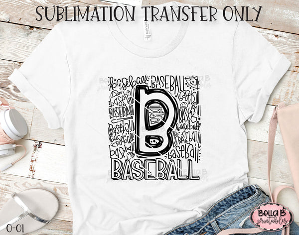 Baseball Typography Sublimation Transfer, Ready To Press, Heat Press Transfer, Sublimation Print