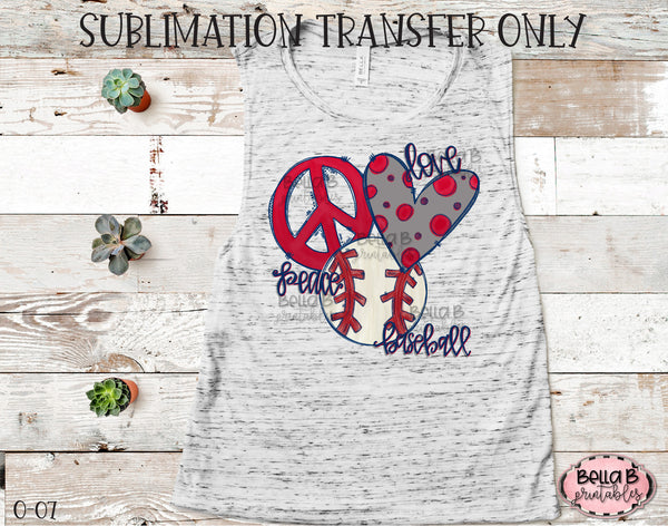 Peace Love Baseball Sublimation Transfer, Ready To Press, Heat Press Transfer, Sublimation Print