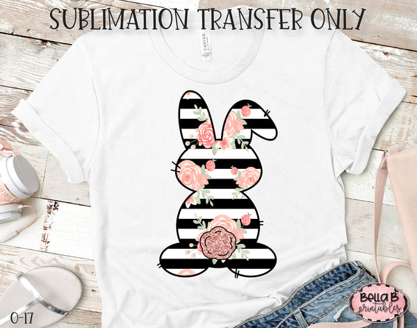 Black Striped Floral Easter Bunny Sublimation Transfer, Ready To Press, Heat Press Transfer, Sublimation Print