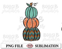 Pumpkin Stack Sublimation Design, Fall Pumpkins, Hand Drawn