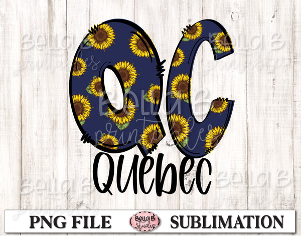 Quebec Sunflower Sublimation Design