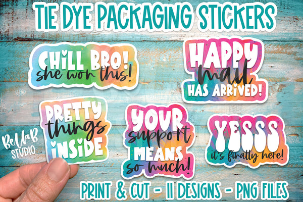 Retro Tie Dye Stickers, Small Business Packaging Stickers