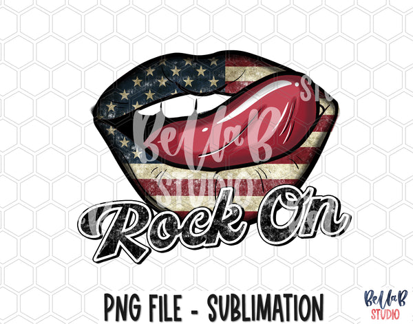 Rock On- American Lips with Tongue Sublimation Design