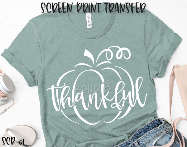 Screen Print Transfer - RTS - Thankful Pumpkin WHITE, Adult [SCP01]