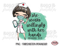 Medical Doctor Sublimation Design, She Works Willingly With Her Hands